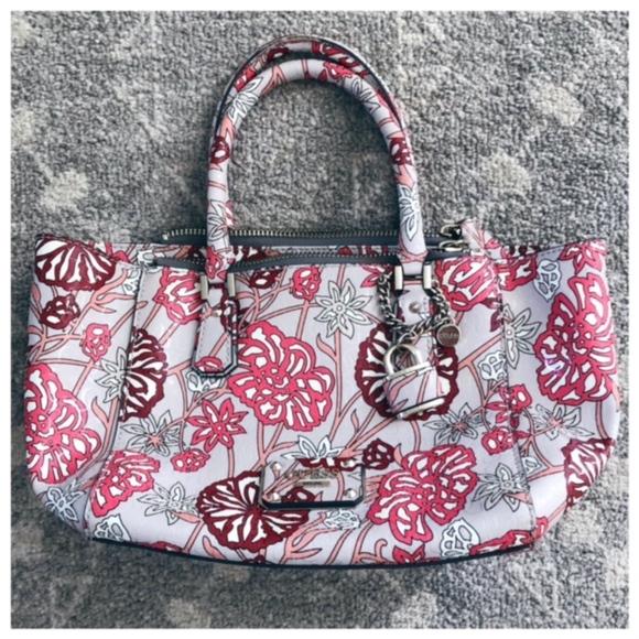 Guess Handbags - Guess Floral Print Handbag Pink Purple Crossbody 4720fd66e806e